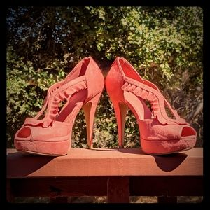 Size 9 Elle High Heel Sandals in Coral with Frills